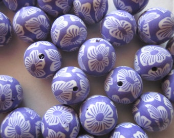 14mm Purple and White Round Polymer Clay Beads 16 Beads