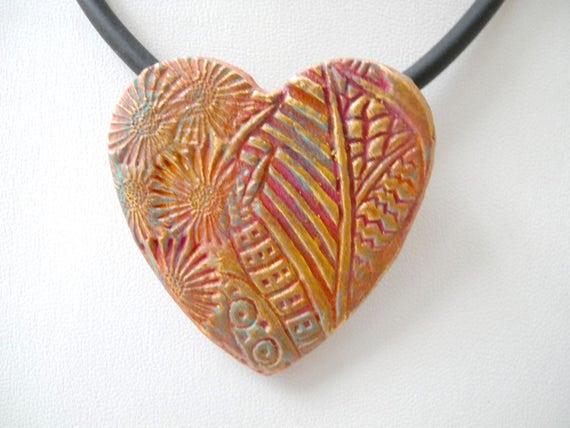 Heart pendant, Textured ceramic pendant, pink gold, pottery pendant, ceramic necklace, Boho design, Boho pendant, copper gold, stamped