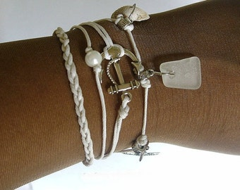Sea glass bracelet. nautical multi strand bracelet in white. Friendship bracelet.