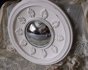 Round metal Convex mirror, shabby white, large mirror, bullseye mirror