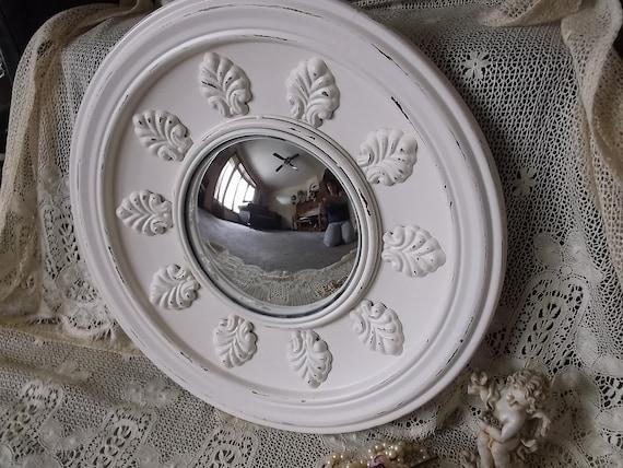 Round metal convex mirror shabby white large mirror for Large white round mirror
