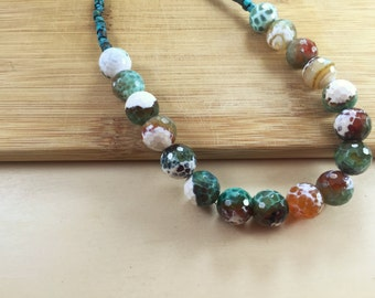 Fire agate and turquoise choker
