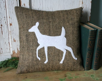 Woodland Deer PILLOW COVER - Silhouette, 14 Inch