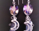 Crescent Moon, Rainbow Quartz, Druzy point earrings, quartz druzy spike earrings, chandelier titanium aura