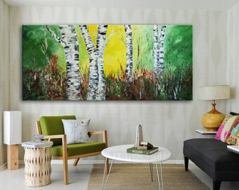 Abstract Green Forest birch Painting, Original Modern yellow forest huge abstract tree art ready to hang office lobby painting long xxl