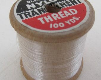 Vintage Wooden Reel of Colour Blending Transparent Nylon Thread