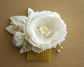 Pure dupioni silk and silk velvet bridal flower hair piece. Corded Alencon lace, pearls, gold or silver comb