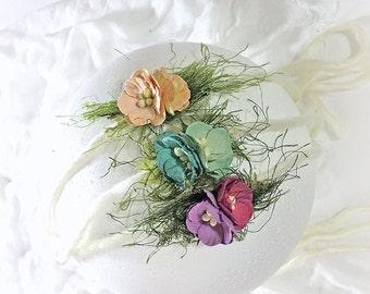 Set of 3 Newborn Photo Prop Crown Headband - Peach, Mint, Magenta Head Ties for Milestone Birthday - Halo Headbands for Baby Shower Gift