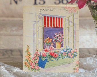 Adorable Antique POP UP Get WELL Card, Flowers, 3d, Three Dimensional, Cottage