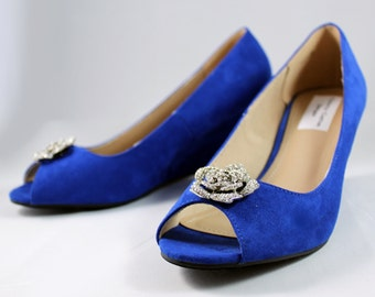 Royal blue wedges - wedding wedge shoes- cobalt blue wedges - blue suede shoes