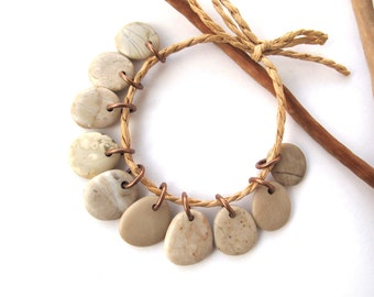 Rock Charms Beach Stone Beads Small Pebble Beads Jewelry Findings Mediterranean River Rock Beads Pairs Copper SWEET MIX 13-15 mm
