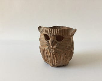 Carved Wood Owl Candle Holder, 1980's Figurine