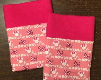 Minnie Mouse  pillow case set made with100% cotton flannel Standard size available bright pink cuff