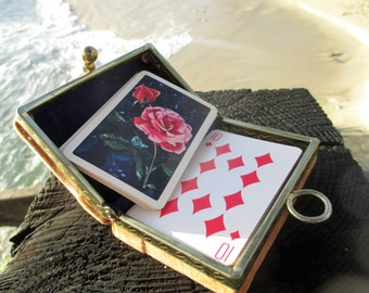 Vintage playing cards and velveteen box