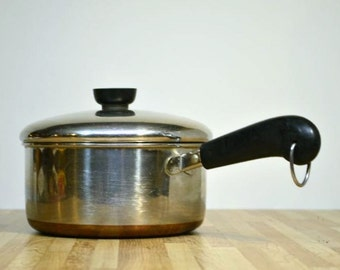 Vintage Revere Ware 2 Quart Made in Rome, NY USA Sauce Pan Copper Bottom