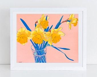 Daffodil flowers art print - floral print - botanical artwork - colorful wall art - daffodil art - floral painting - daffodil print - yellow