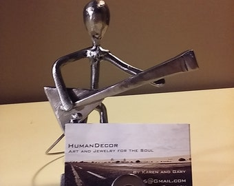 Electric Guitar Player Business Card Holder