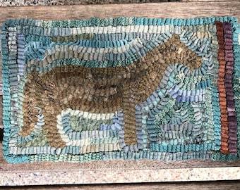 Little Old Mare Primitive Folk Art Hooked Horse and Flower Rug