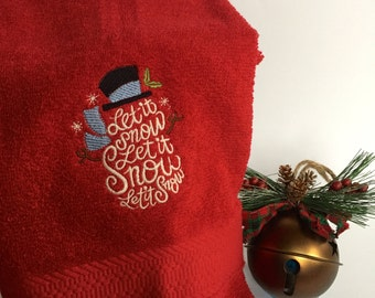 Let it Snow Embroidered Towel