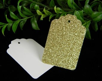 Gold Gift Tags Sparkly Glitter | Gold Birthday Party Decorations | 30th, 40th, 50th, 60th, 70th, 80th, 90th, 100th Birthday