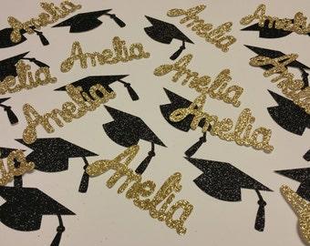 50 Personalized Glitter Graduation Cap & Name Confetti for Graduation Party 1 1/2 inches  -- 50 pieces