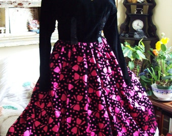womens party dress, vintage velvet party dress, size 8 black and pink holiday dress, made in Canada 1980s dress