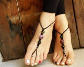 OSFA Hemp Barefoot Sandals Hippie Jewelry Festival Beach Summer Accessories Handmade Bohemian Sandals Gypsy Earthing Soleless Shoes Nebula