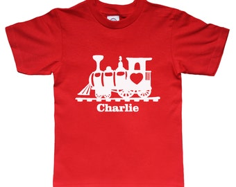 Valentine Personalized Train Shirt for Kids - Valentine Gift Idea - Any Name - Choose your colors!