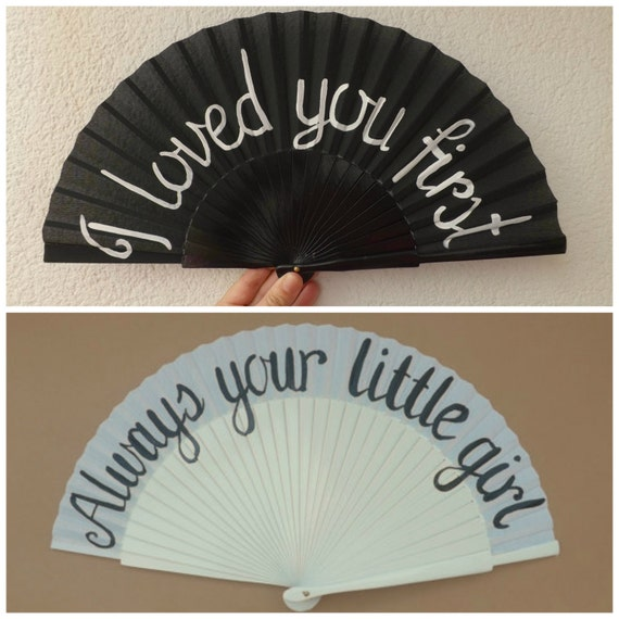Father Daughter Bridal Prewedding Combo Always Your Little Girl I Loved You First Bride Wedding Folding Wood Fabric Hand Held Fan