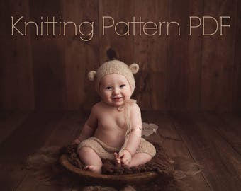 KNITTING pattern sitter bear bonnet and shorts set PDF instant download 6-12 mos baby