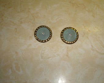 vintage clip on earrings goldtone turquoise lucite rhinestone