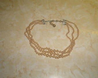 vintage necklace choker triple strand faux pearls silvertone