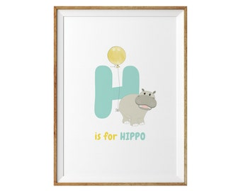 Child's Wall Print - H is for Hippo Print