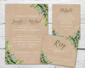 Greenery Wedding Invitation Set with Invitation, RSVP, Insert Card and Envelopes, Leaves Wedding Invitations, Watercolor Wedding Invitation