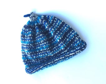 Baby beanie wool hand knitted blue multi