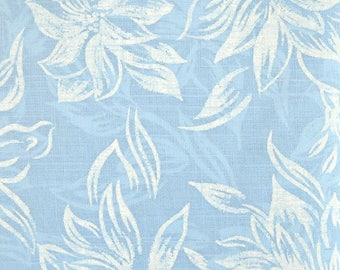 Sky Blue Floral Fabric, Polyester/Cotton Blend, Fabric by the Yard