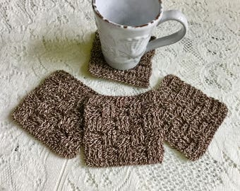 Crochet Coasters Brown Tweed - Drink Coasters - Crochet Square Weave Coaster Set - Brown Square Bar Coaster