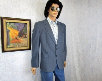 80s 42R Ultrasuede Men's Sportscoat Jacket Slate Blue Sears