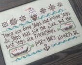 NEW Good Ship Sampler Nashville Market 2017 Hands on Design Irish Proverb cross stitch pattern ocean sea nautical