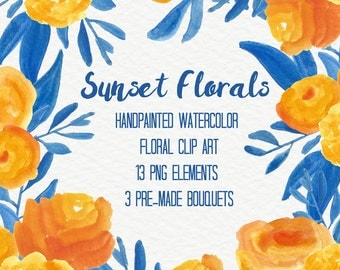 Yellow Blue Abstract Watercolor Flowers Floral Clip Art Digital Handpainted Roses Blooms PNG Wedding Invitation Small Commercial Use OK