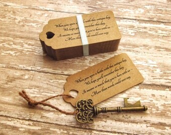 "DIY Wedding Favors -Skeleton Key Bottle Openers + ""Poem"" Thank-You Tags – Wedding Favors set of 100 - Ships from USA - Antique Bronze"