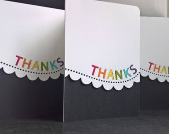 Rainbow Thank You Cards Set of 3, Thank You Notes, Stationery Set, Rainbow Cards