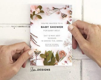 FLORA PINKY : an invitation ready for instant download to be customised