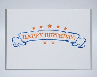 Happy Birthday - Banner - letterpress card - retro - stars - orange - blue - card
