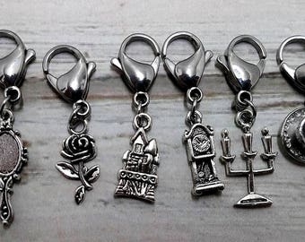 Beauty and the Beast Charm Stitch Markers Knitting Crochet No Snag Closed Ring Lobster Clasp