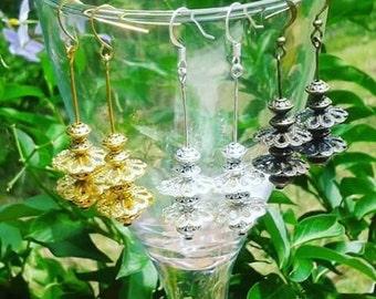 Oriental Drop Earrings in Silver, Gold or Bronze tone.