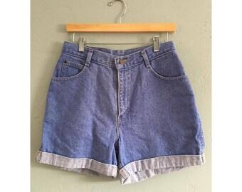 90s High Waisted Light Wash Denim Shorts, Women's Waist Size 30