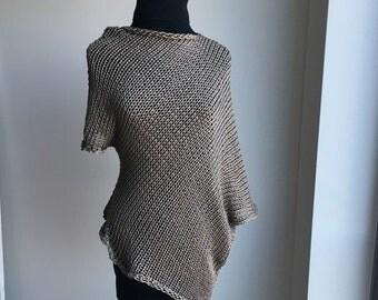 Summer Knit Sweater / Asymmetrical Sweater Top / Knit Tunic / Beige Knit Sweater / Knit Gift / Knit Kimono / Summer Top /