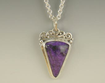 P605- Sterling Silver Sugilite Pendant- One of a kind