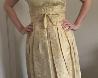 1950s suzy perette yellow gold cocktail dress